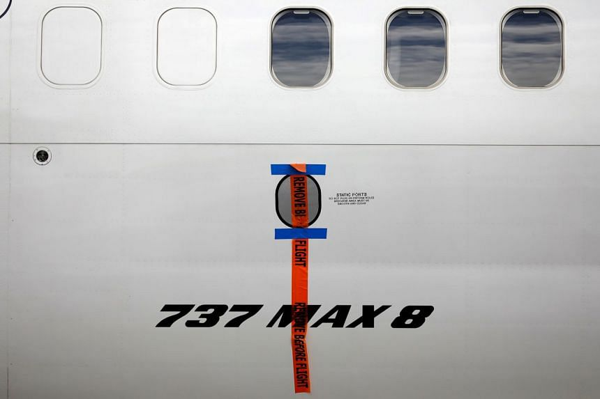 A seal is seen on a Garuda Indonesia Boeing 737 Max 8 plane parked in Jakarta.