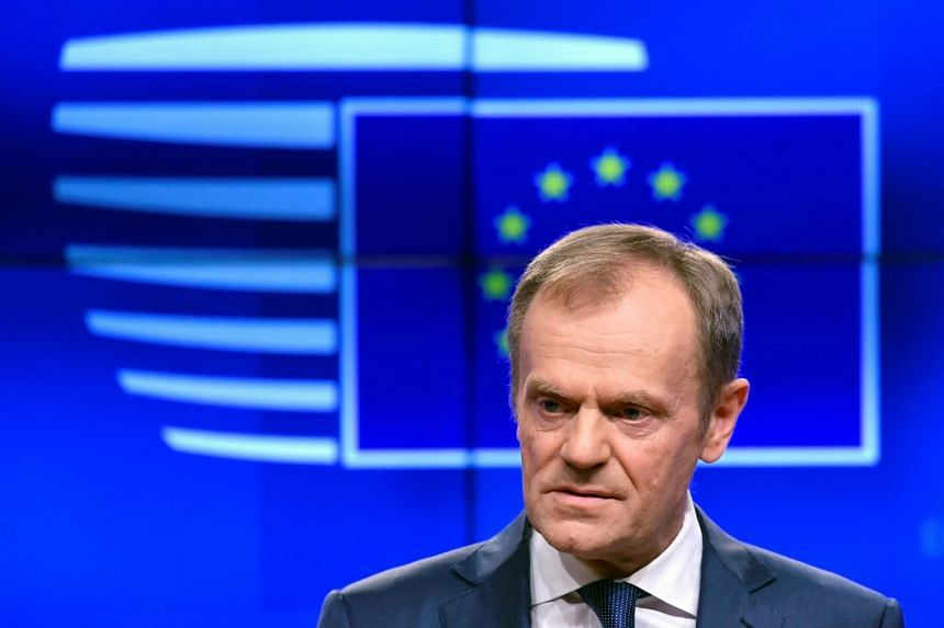 Tusk delivers a statement on Brexit ahead of the EU summit in Brussels, Belgium.