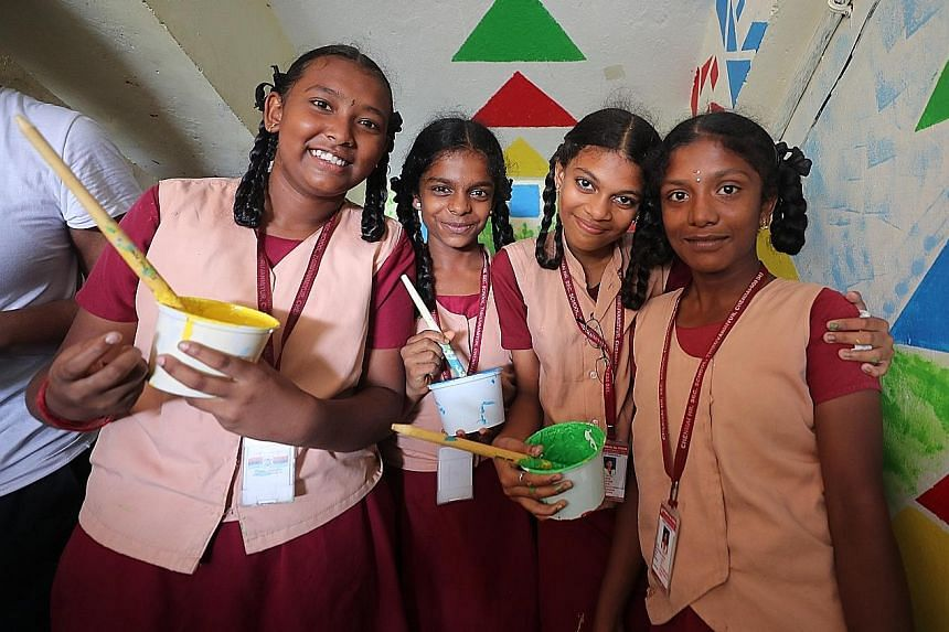 Students who were involved in painting a wall mural in Thiruvanmiyur, Chennai, where NalandaWay Foundation runs its Art Lab Programme. The foundation uses visual and performing arts to help children from disadvantaged communities in India.