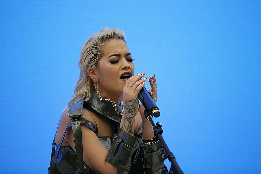 British singer Rita Ora giving a performance at Apple Orchard Road on Monday, for Apple's Made By Women series.