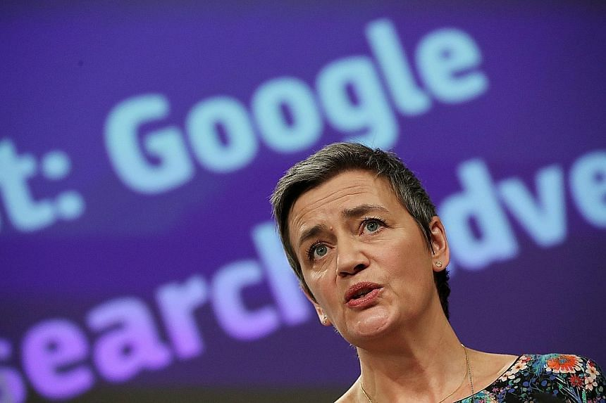 European Commissioner for Competition Margrethe Vestager speaking to the media yesterday at the European Commission headquarters.
