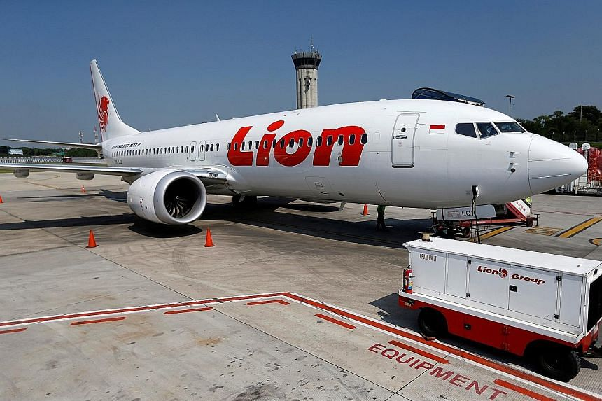 A Lion Air Boeing 737 Max aircraft parked at Indonesia's Soekarno-Hatta International Airport.