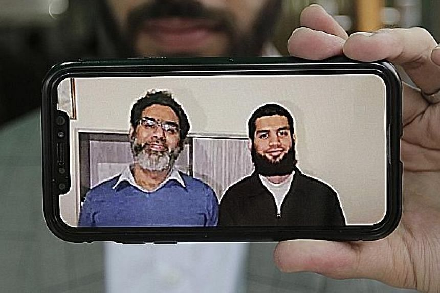 Above: Armed with just a credit card machine, Mr Abdul Aziz charged at the gunman. Mr Aziz survived the attack, while the gunman fled and was later caught. Mr Naeem Rashid and his son Talha were killed in the mosque shootings last Friday. Mr Naeem, w