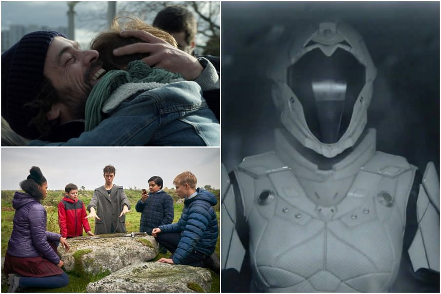 (Clockwise from top left) Family drama Nos Batailles, Love, Death & Robots and The Kid Who Would Be King.