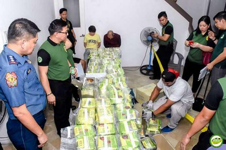 The drugs, a powerful methamphetamine locally known as shabu, were concealed in tea wrappers and biscuit cans, similar to seizures in Malaysia, Thailand and Myanmar.