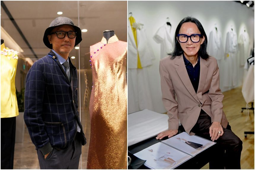 Couturier Goh Lai Chan (left) and veteran designer Thomas Wee, who are highly regarded in Singapore's fashion industry.