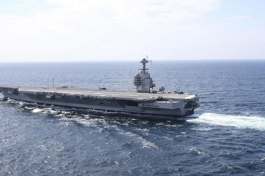 The aircraft carrier USS Gerald R. Ford steams in the Atlantic Ocean.