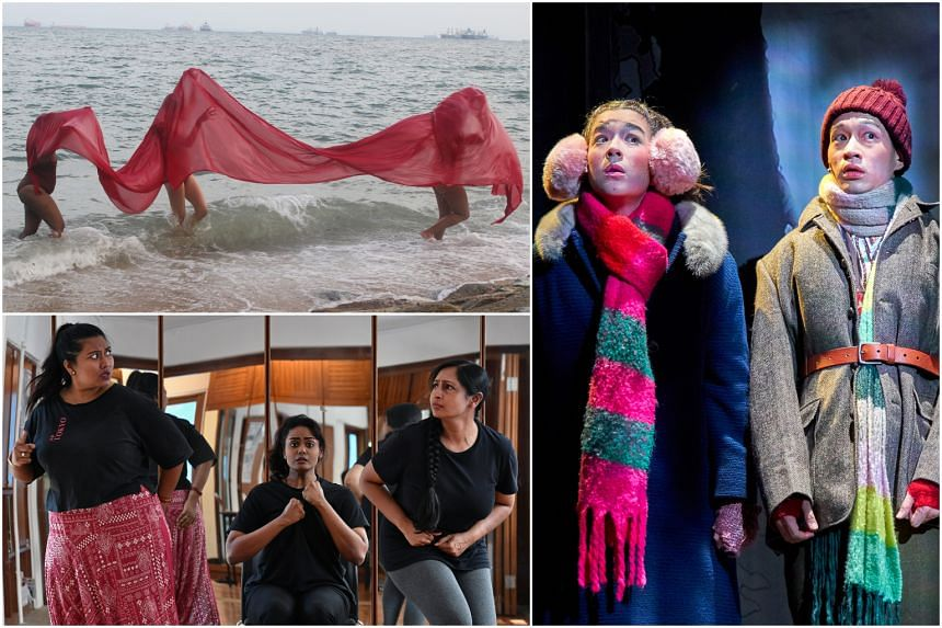 (Clockwise from top) Performance art by Singaporean artist ila, Gretel And Hansel by the Singapore Repertory Theatre's The Little Company and Goddesses of Words by theatre-maker Grace Kalaiselvi.
