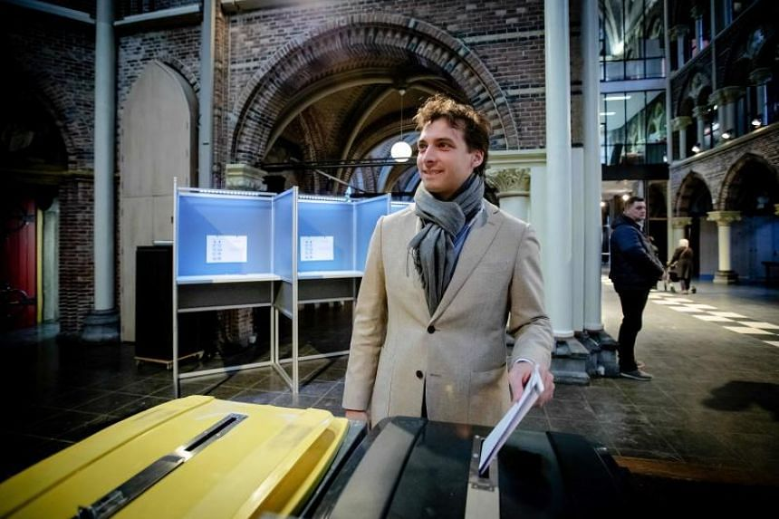 Eurosceptic Forum for Democracy party leader Thierry Baudetcasts his ballot for Netherlands' provincial and water authorities elections at a polling station in Amsterdam on March 20, 2019.