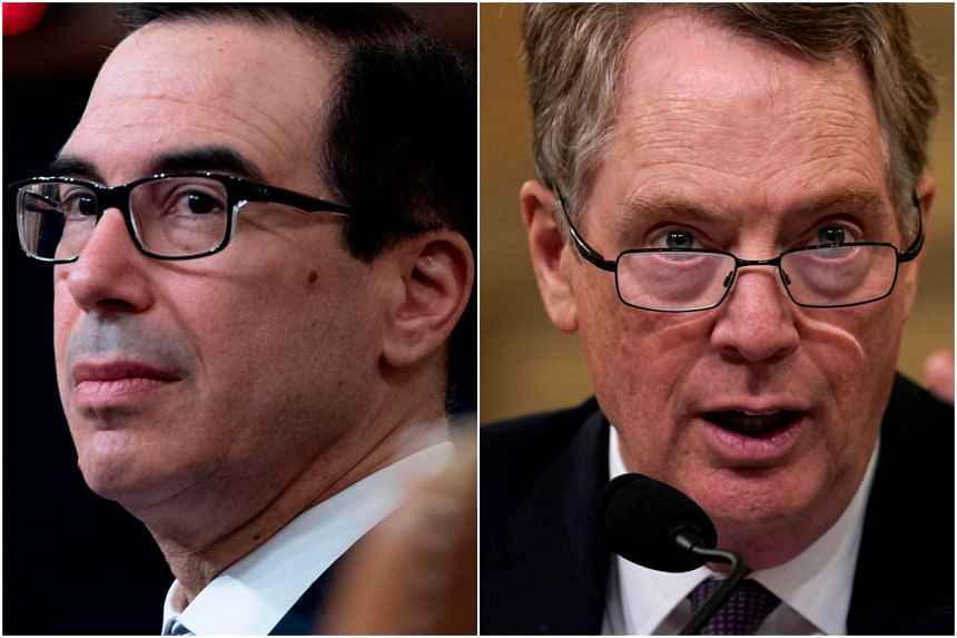 A US trade delegation headed by Trade Representative Robert Lighthizer (right) and Treasury Secretary Steven Mnuchin will visit Beijing, China from March 28 to 29.