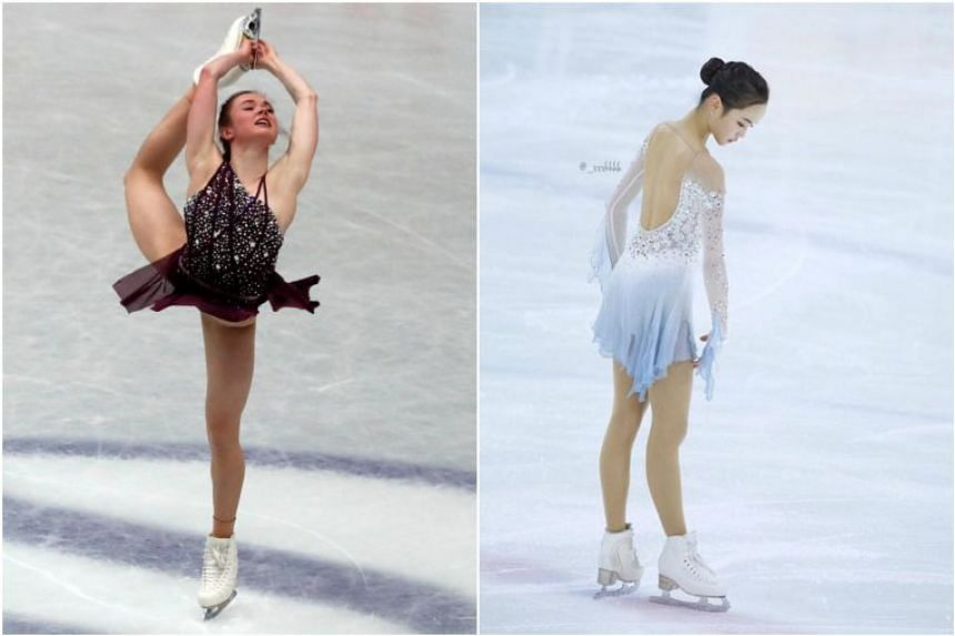 South Korean Lim Eun-soo (right) was patched up before scoring a personal-best to place fifth in the short skate at Saitama, just ahead of America's Mariah Bell (left).