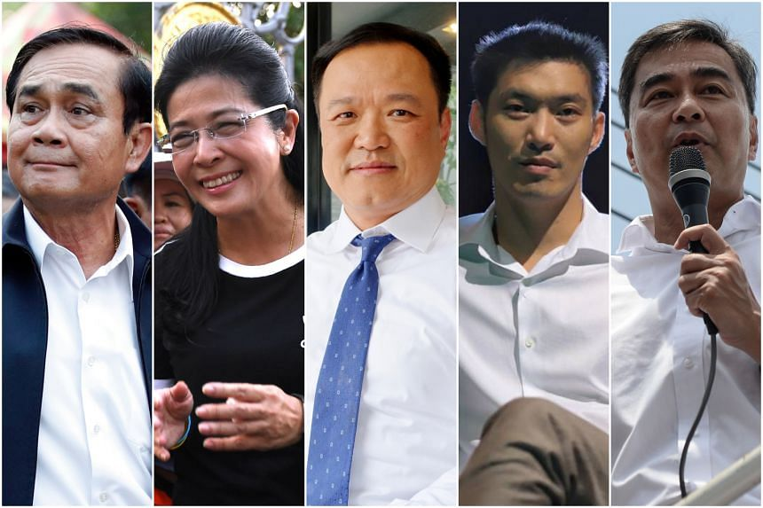 Analysts believe that either (from left to right) Prayut Chan-o-cha, Sudarat Keyuraphan, Anutin Charnvirakul, Thanathorn Jungrungreangkit or Abhisit Vejjajiva, will be Thailand's next prime minister following the elections.