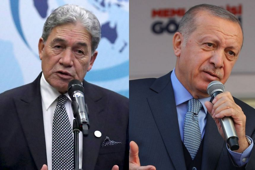"""New Zealand Foreign Minister Winston Peters (left) is headed to Turkey to """"set the record straight, face-to-face"""" on comments made by President Recep Tayyip Erdogan (right) on the killing of 50 people at mosques in Christchurch."""