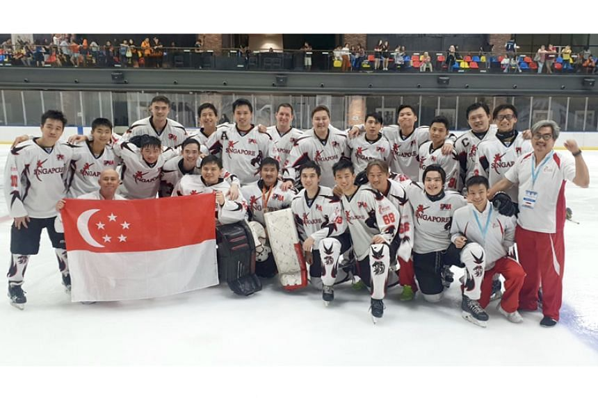 Singapore's Men's National Hockey team at the IIHF Challenge Cup of Asia in Kuala Lumpur, where they clinched the bronze medal.