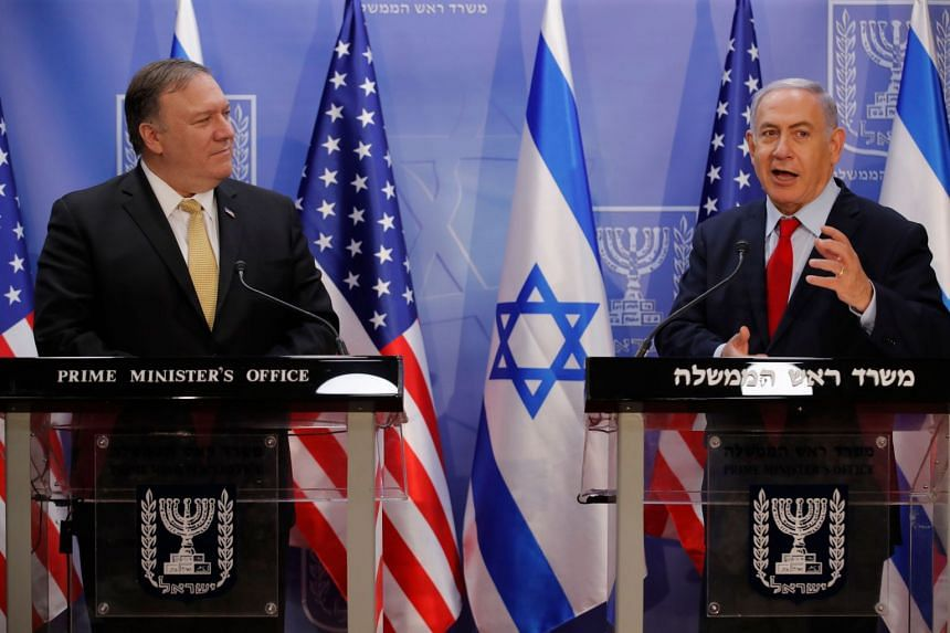 Pompeo (left) and Netanyahu deliver a joint statement during their Jerusalem meeting.