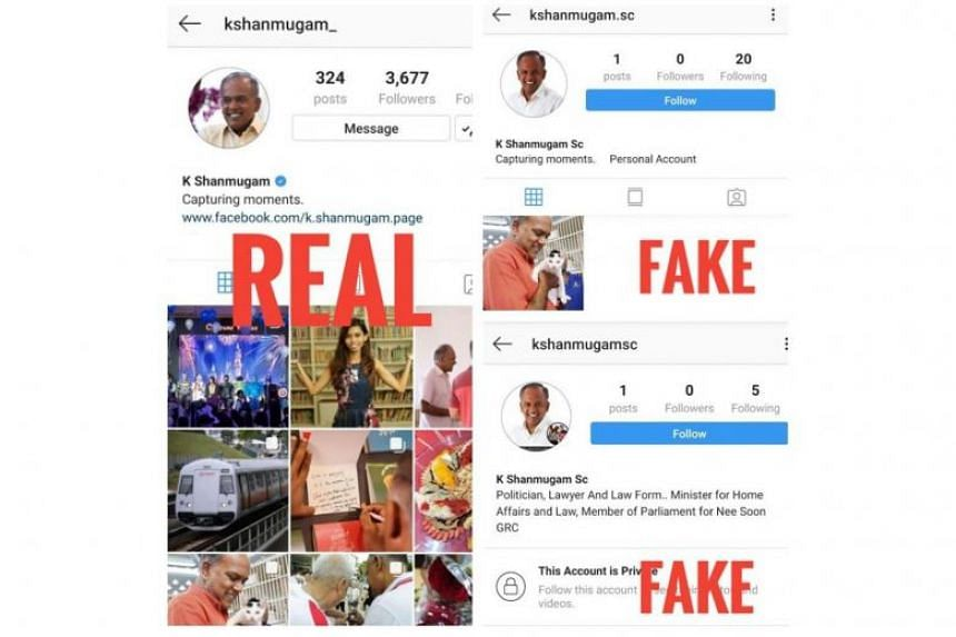 Home Affairs and Law Minister K. Shanmugam said that residents had informed him of fake Instagram and Facebook accounts impersonating him.