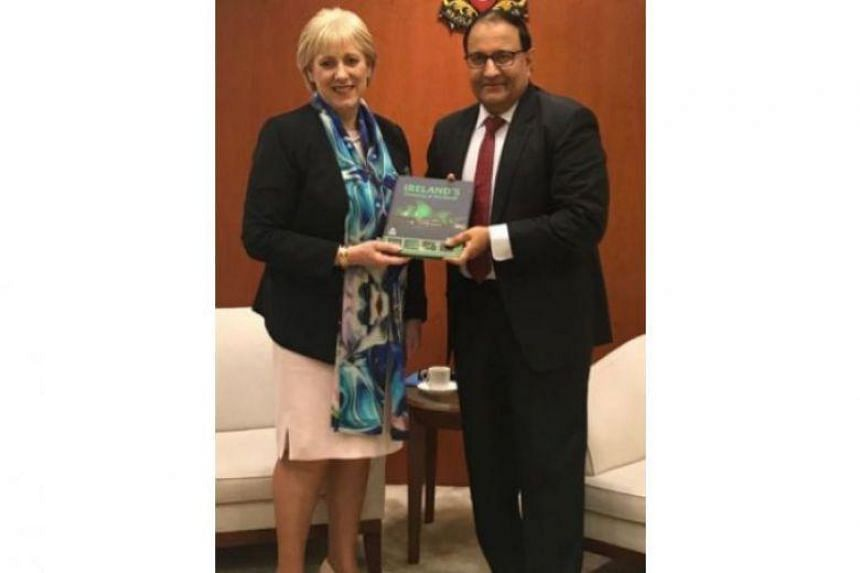 Irish Minister for Business, Enterprise and Innovation Heather Humphreys calls on Minister-in-charge of Trade Relations S Iswaran at Singapore's Ministry of Trade and Industry on March 19, 2019.
