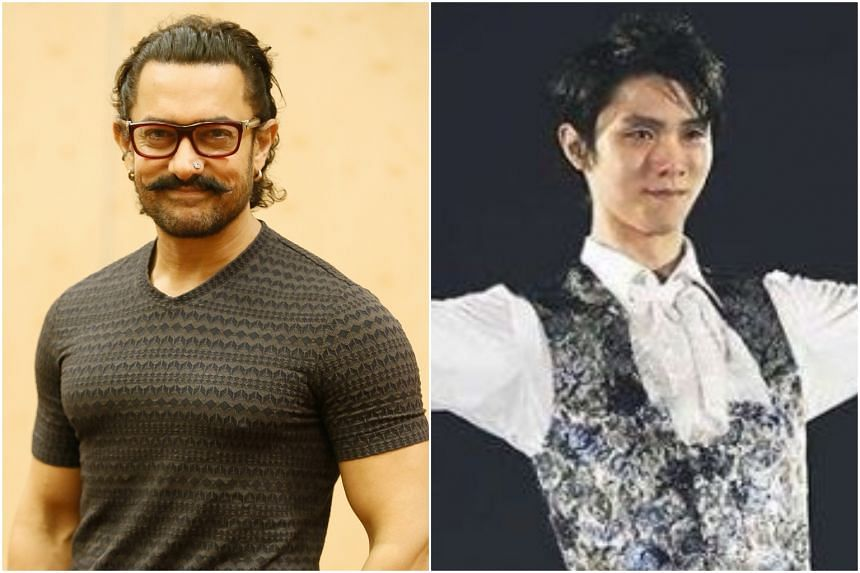 Bollywood superstar Aamir Khan (left) and Japanese figure skater Yuzuru Hanyu are in fourth and fifth places.