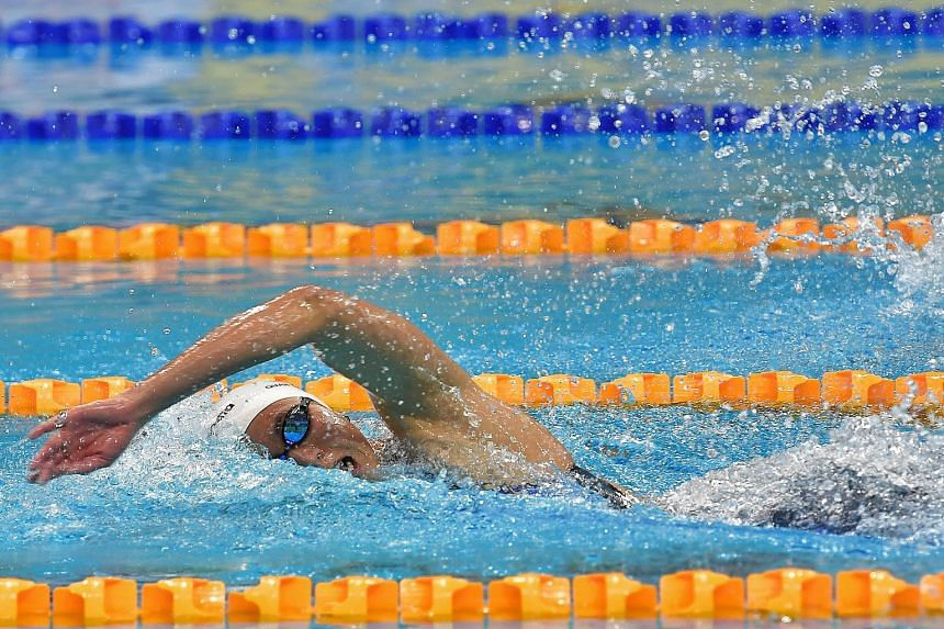 Quah Ting Wen on her way to winning the 100m freestyle in 54.82sec last night at the OCBC Aquatic Centre. She set the national record twice in a day and also broke the 55-second barrier.