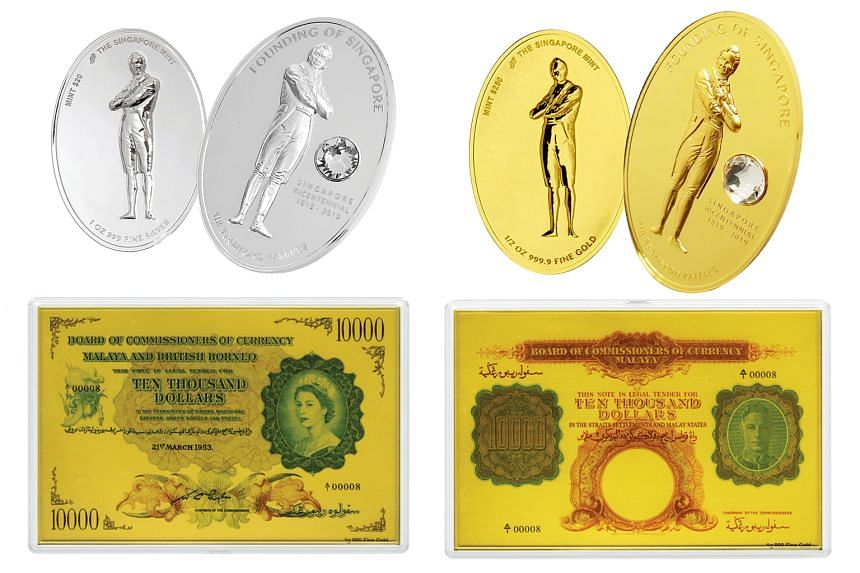 The commemorative objects can be bought at the Singapore Mint's booth at the coin fair at Marina Bay Sands Expo and Convention Centre from tomorrow to Sunday.