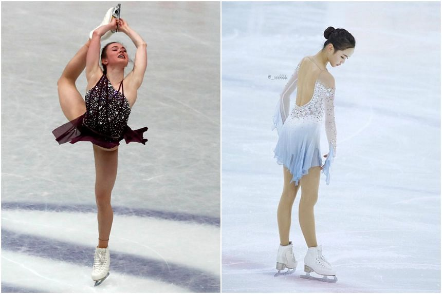 America's Mariah Bell (left) was accused of colliding into South Korean rival Lim Eun-soo in the final warm-up session ahead of the world championships in Japan.