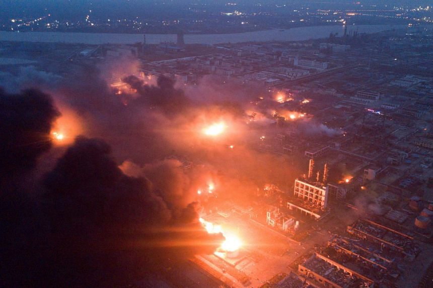 Smoke billows from a fire following an explosion at the pesticide plant owned by Tianjiayi Chemical, in Xiangshui county, Yancheng, Jiangsu province, China, on March 21, 2019.