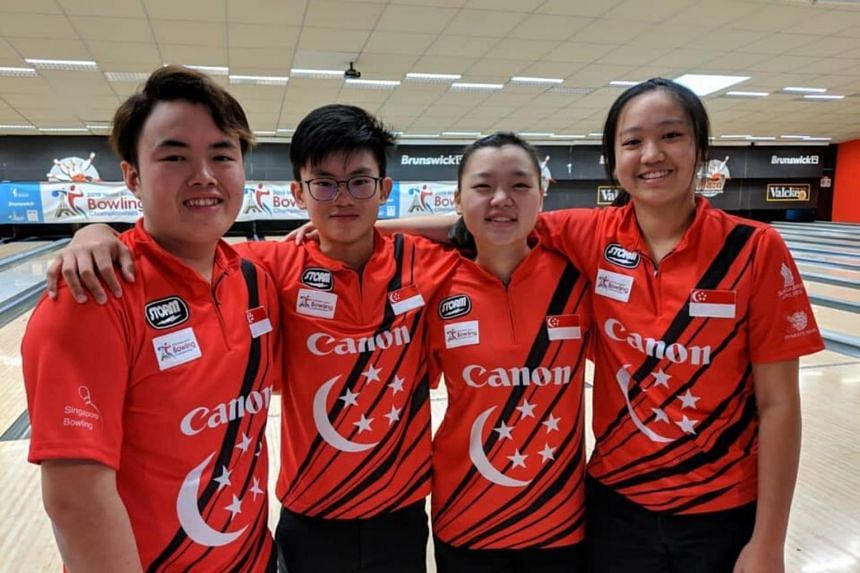 (From left) Xavier Teo, Eugene Yeo, Quek Lu Yi and Arianne Tay won the bronze medal at the World Junior Bowling Championship in France on March 21, 2019.