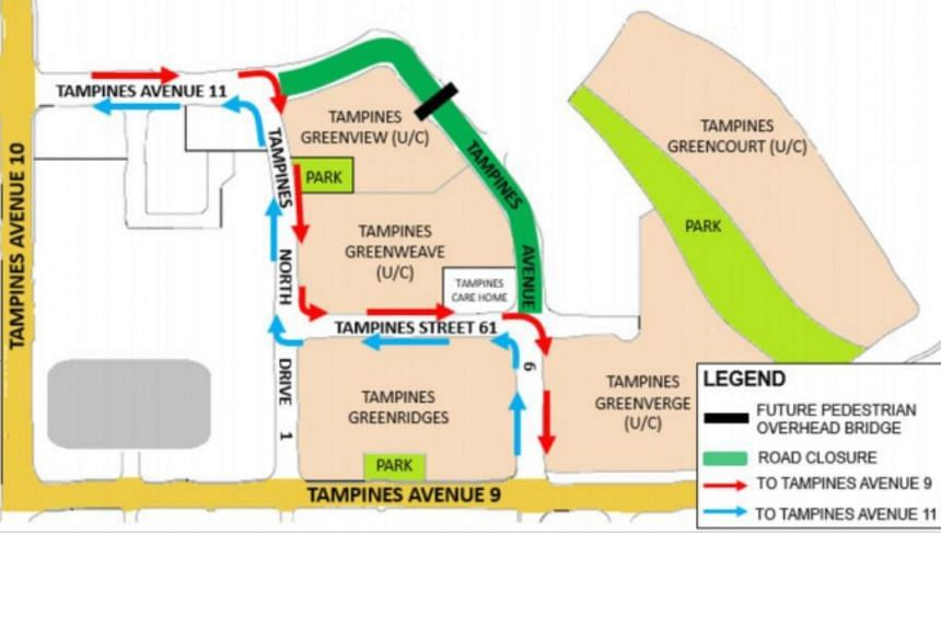 The closure, which will be from 1am to 5am, will affect the stretch from the junction of Tampines Avenue 6 and Tampines Street 61 to the junction of Tampines Avenue 11 and Tampines North Drive 1.