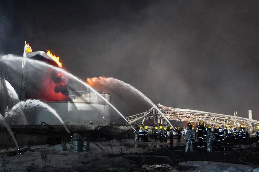 Firemen at work following an explosion at a chemical plant in Yancheng in China's eastern Jiangsu province, on March 22, 2019.