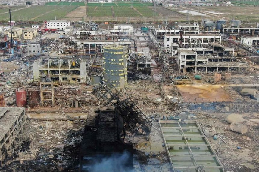 The aftermath of the explosion at a chemical plant in Yancheng in China's eastern Jiangsu province, on March 22, 2019.