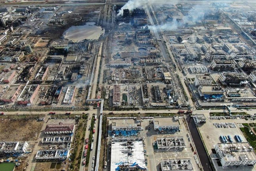 An aerial view of the aftermath of the explosion at a chemical plant in Yancheng in China's eastern Jiangsu province, on March 22, 2019.