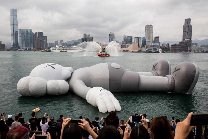 The 37-metre piece called Kaws:Holiday is the work of American artist Kaws, who is known for his whimsical characters which have Xs for eyes.