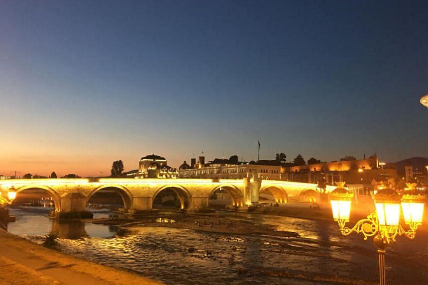 The Stone Bridge in Skopje at sunset.