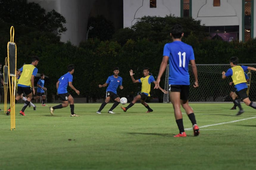Singapore's Young Lions training at the Geylang field on Feb 25, 2019.