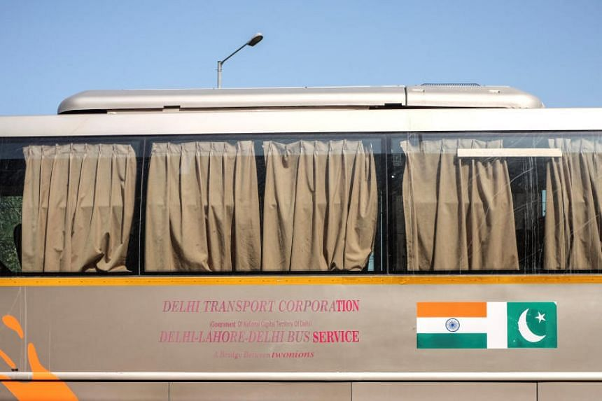 The India-Pakistan 'friendship bus' is pictured at the Wagah-Attari border crossing, India on March 15, 2019.