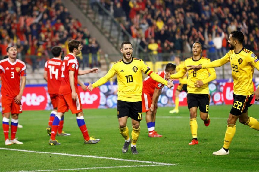 Captain Eden Hazard scored twice for Belgium to secure a 3-1 victory over Russia in their Euro 2020 Group I qualifier in Brussels on March 21, 2019.