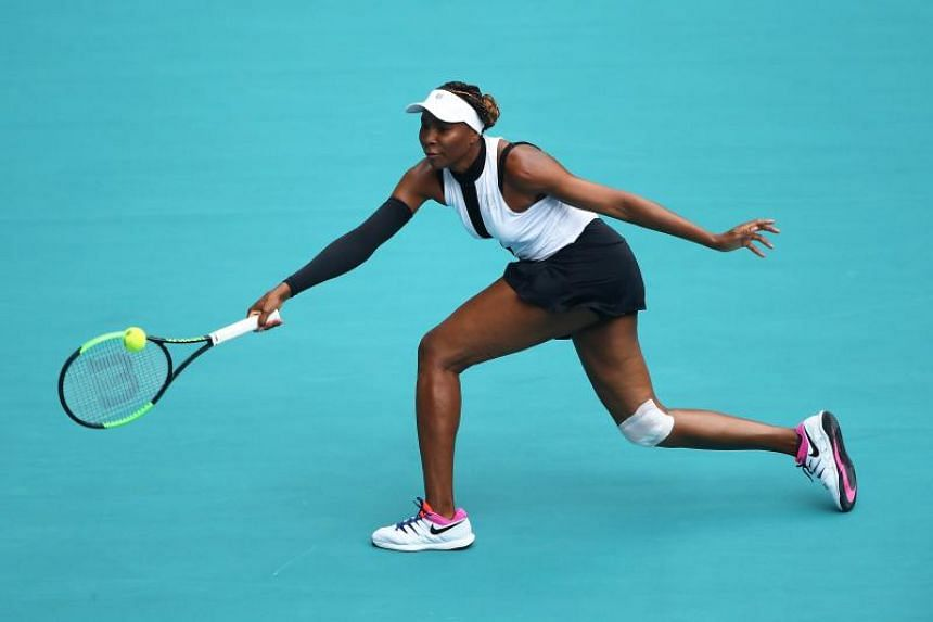 Venus Williams eased past Slovenian qualifier Dalila Jakupovic (not pictured) 7-5 6-3 in the first round of the Miami Open on March 21, 2019.