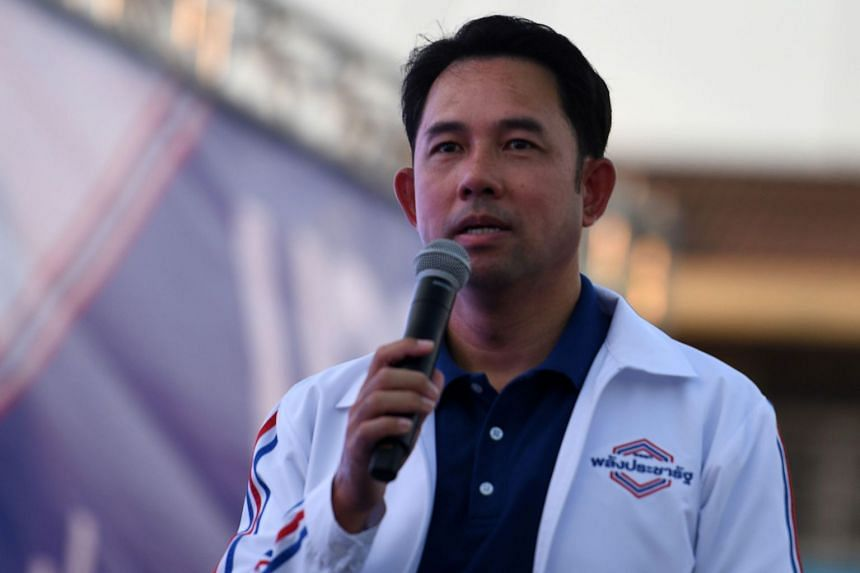 Mr Itthipol Khunpluem of the Phalang Pracharat party speaks during a campaign rally in Chonburi province on March 21, 2019. The feared and revered Khunpluems have run eastern Chonburi for decades and carry voter loyalty wherever they go.