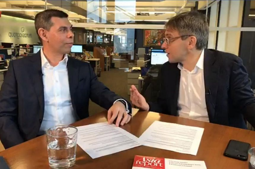 ST editor Warren Fernandez, who is also editor-in-chief of the English, Malay, Tamil Media Group, and American foreign policy expert Ian Bremmer in New York during a Facebook Live session.