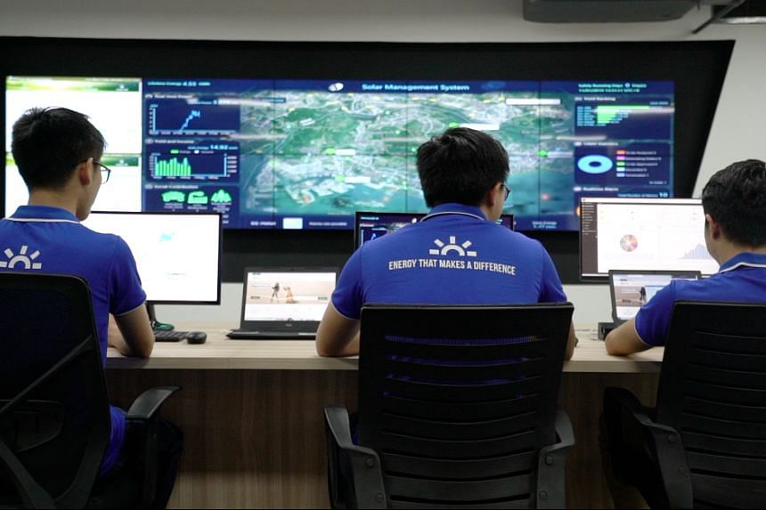 Sembcorp's high-tech digital system at the Sembcorp Solar Performance Monitoring Centre uses real-time tracking devices and live feeds to monitor the output of every solar panel in Sembcorp's fleet in Singapore, including those at Supply Chain Ci