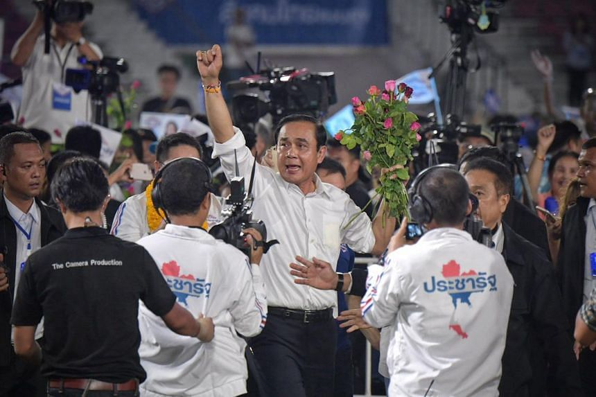 Thailand's Prime Minister, General Prayut Chan-o-cha, who is also Palang Pracharath's sole candidate for prime minister at the party's last major rally held at the Thepasadin stadium, in the Pathum Wan District in Bangkok on March 22, 2019.