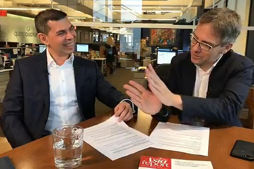 The Straits Times editor Warren Fernandez (far left) with American foreign policy expert Ian Bremmer. A Facebook Live session was held in New York yesterday to coincide with the launch of a new content-sharing partnership this week between The Strait