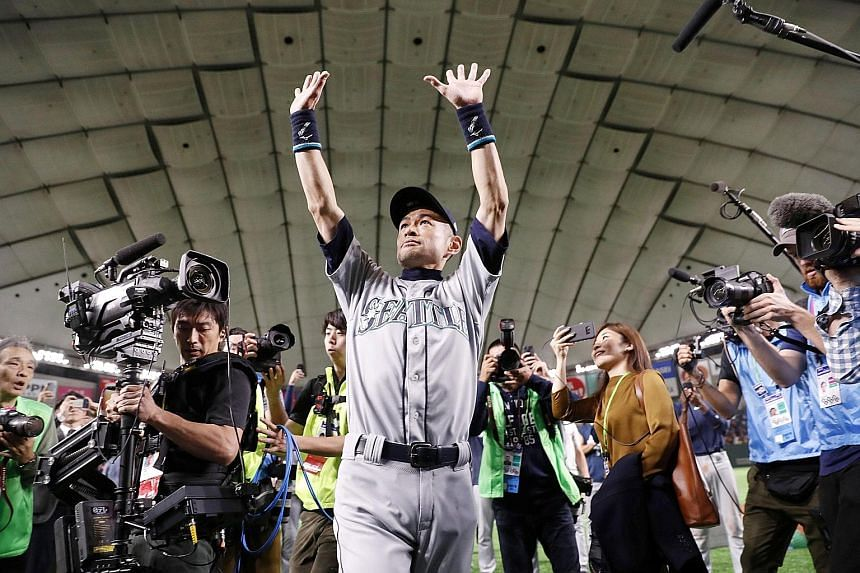 Seattle Mariners' Ichiro Suzuki waving to fans after the game against the Oakland Athletics at Tokyo Dome on Thursday. He amassed 4,367 hits in 28 seasons across two continents.
