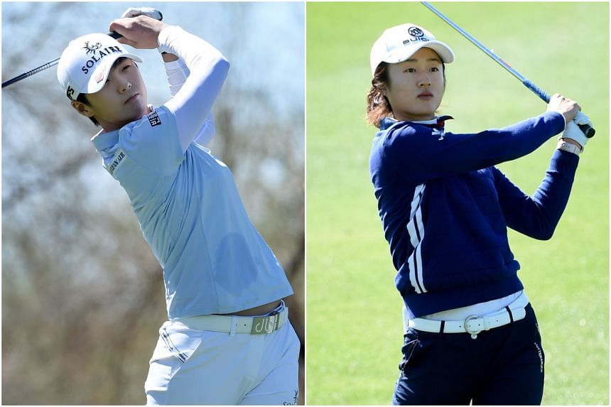 Park Sung-hyun (left) and Liu Yu were two strokes clear of a group of eight players on 10-under 134.