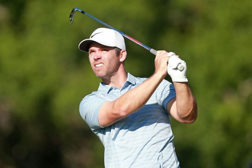 Paul Casey of England watches his tee shot on the 17th hole during the second round of the Valspar Championship on the Copperhead course at Innisbrook Golf Resort on March 22, 2019 in Palm Harbor, Florida.