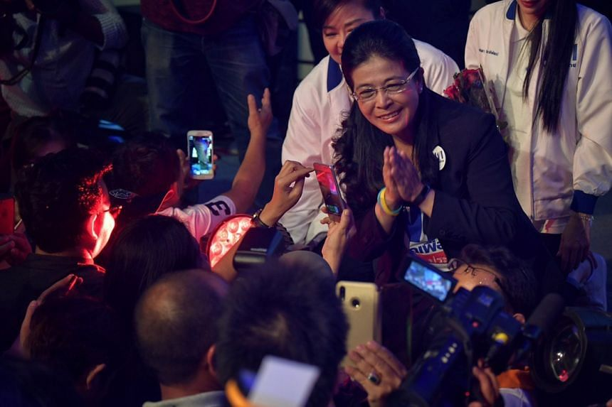 Pheu Thai Party PM candidate Sudarat Keyuraphan at the party's last major rally held at the Kilawes 2 indoor stadium in Bangkok's Din Daeng district on Mar 22, 2019.