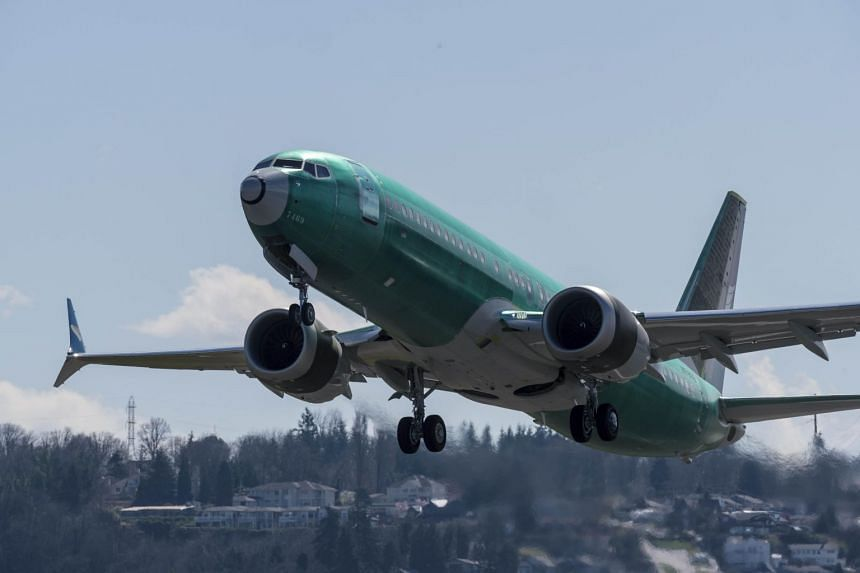 A Boeing 737 Max 8 airliner takes off from Renton Municipal Airport near the company's factory in Renton, Washington on March 22, 2019.