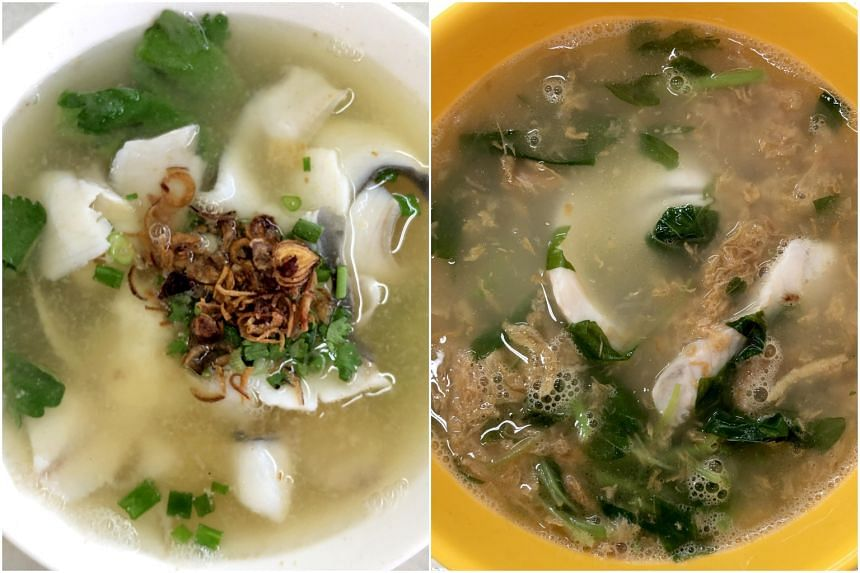 First Street Teochew Fish Soup (left) and Blanco Court Fried Fish Noodles.