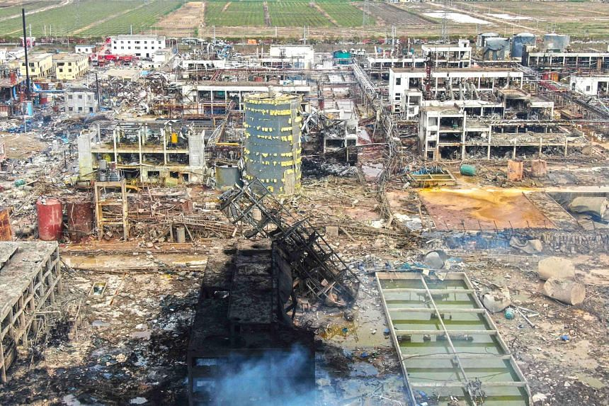 Damaged buildings in the wake of a blast on Thursday at a chemical plant near Yancheng city in China's eastern Jiangsu province. It was believed to have caused a tremor equivalent to a 2.2-magnitude earthquake.