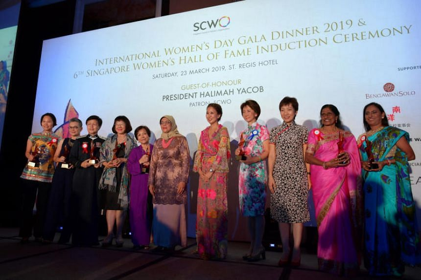President Halimah Yacob said that women in Singapore have been breaking boundaries in male-dominated industries such as science, technology and the uniformed services.